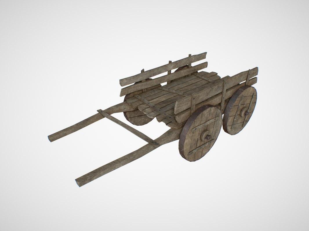 car cart wood 3D