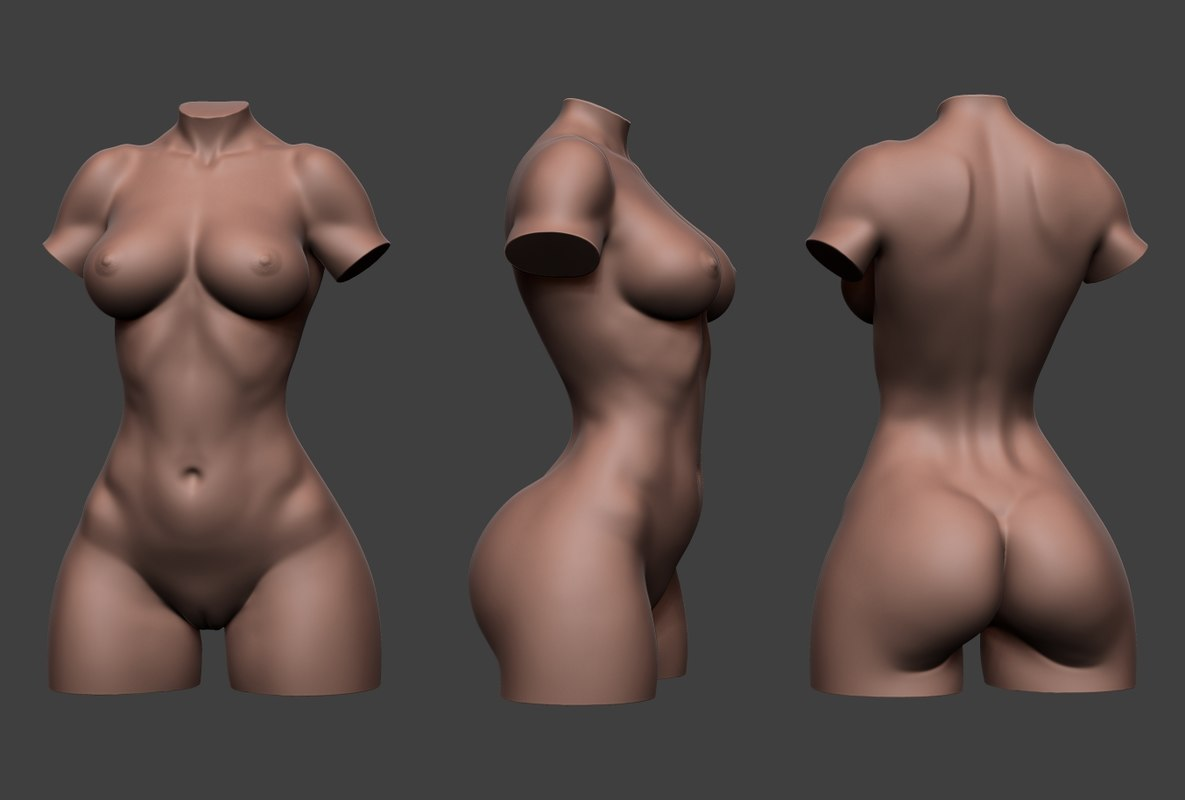 Animated nude female body #9