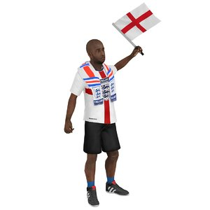rigged soccer fan 3 3D model