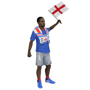 3D model rigged soccer fan