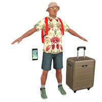 tourist man backpack 3D model