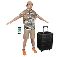 tourist man backpack 3D