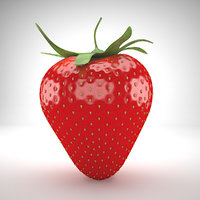 realistic strawberry 3D