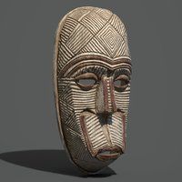 red accent tribal mask 3D model