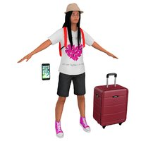 3D female tourist woman backpack