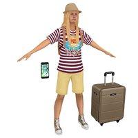3D model female tourist woman backpack