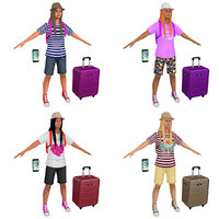 3D pack female tourist backpacks