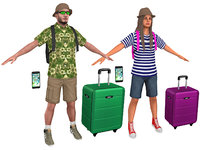 3D model pack male female tourist