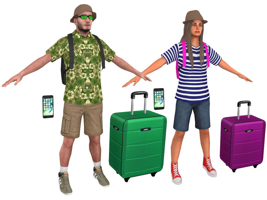 3D model pack male female tourist