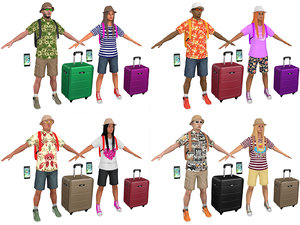 pack male female tourists 3D