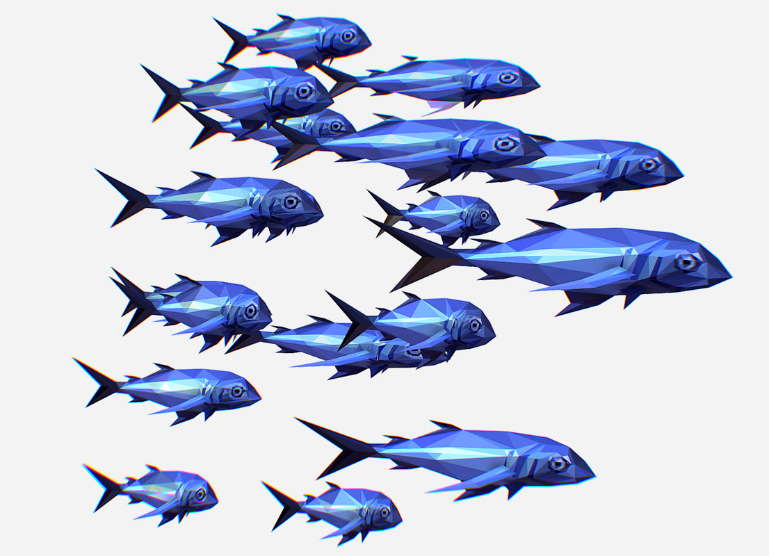 3D art flock fish animation