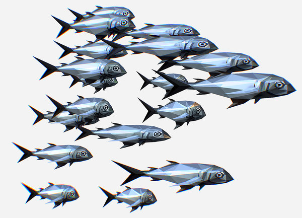 3D art flock grey sea fish