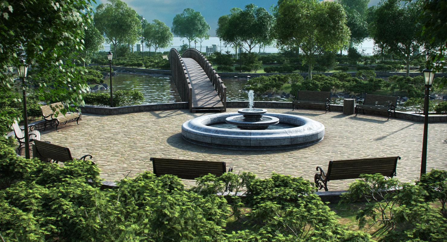 park trees vegetation 3D