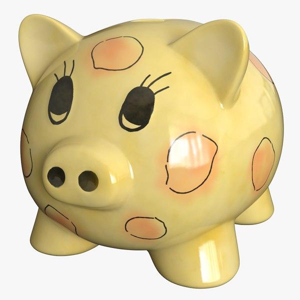 realistic piggy bank 3D model