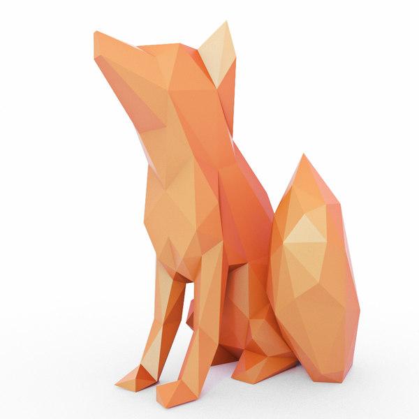 fox sits 3D
