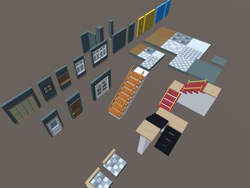 3D customizable room pack model