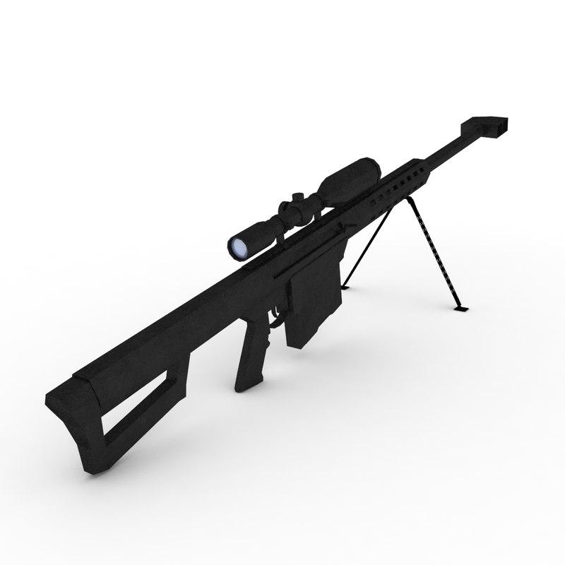 barret m82 sniper riffle 3D
