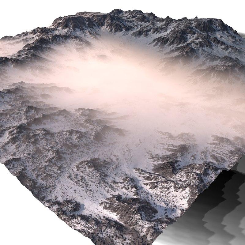 3D snowy terrain model