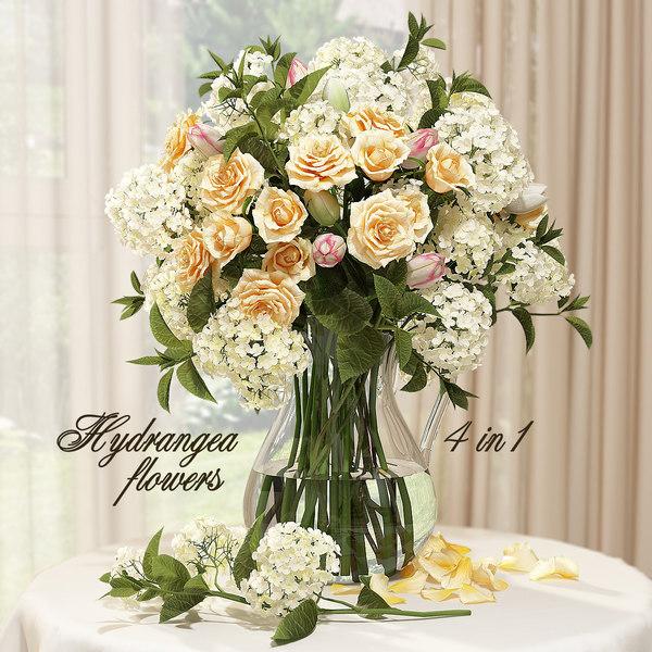 bouquet hydrangeas roses vase 3D model