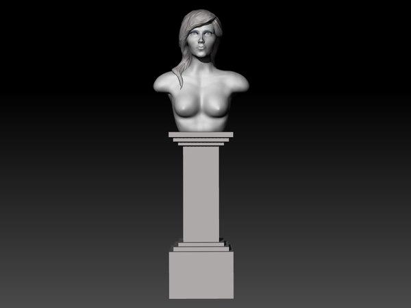 3D sculpture girl pedestal model