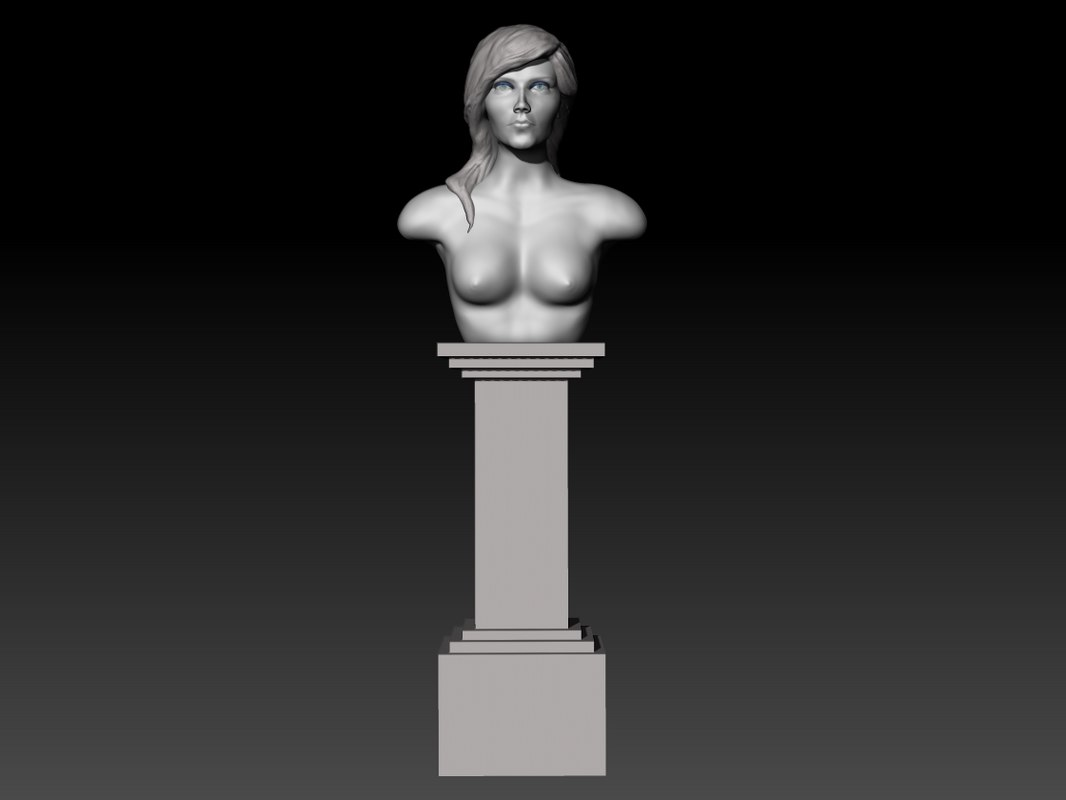 3D sculpture girl pedestal model