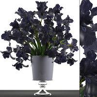 3D model flower bouquet black