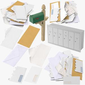 3D mailboxes mail envelopes box
