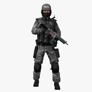 swat grey camo 3D model