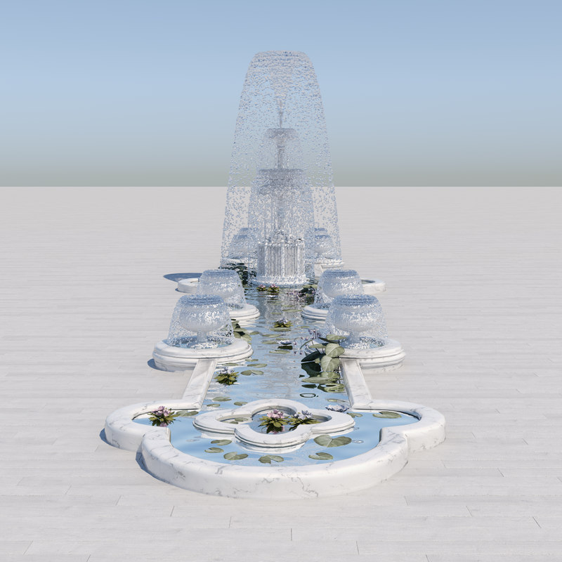 3D crystal fountain water model