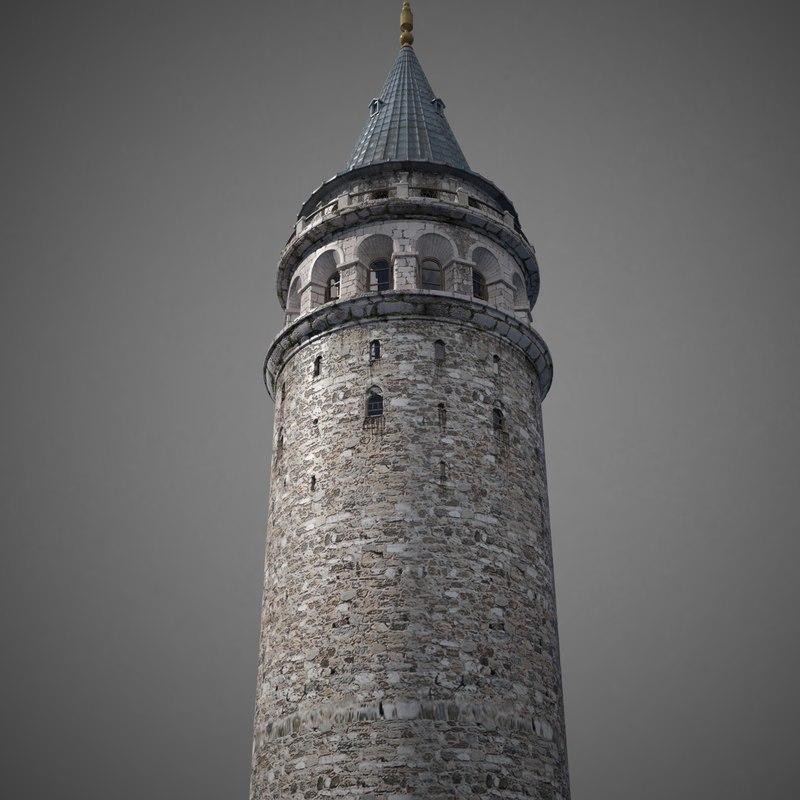 galata tower 3D model