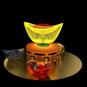 chinese gold ingot led light 3D model