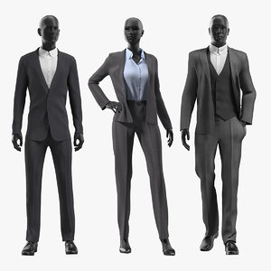 3D suits mannequins man woman