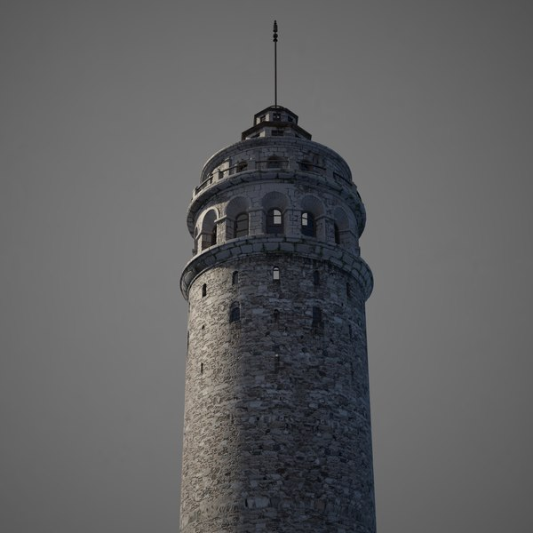 3D model old galata tower