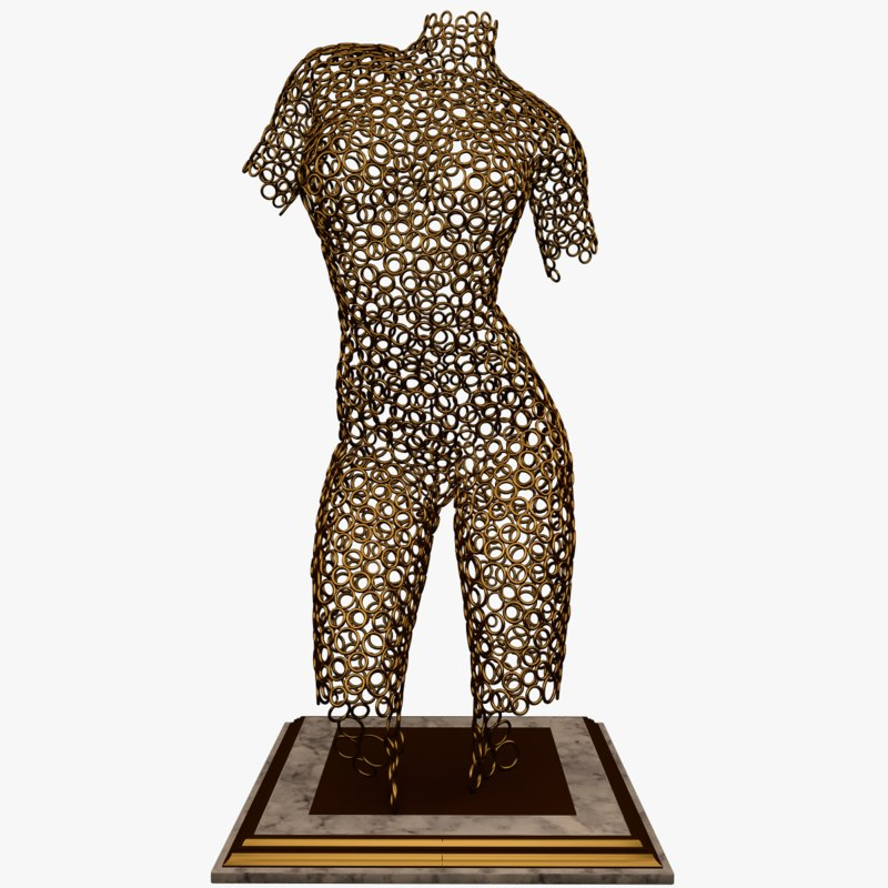 3D sculpture woman ring model