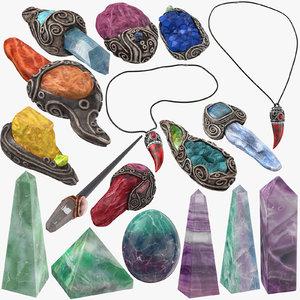 magic crystals amulet 3D model