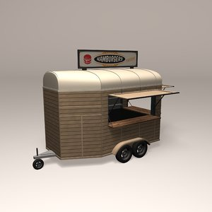 vintage mobile trailer bar 3D