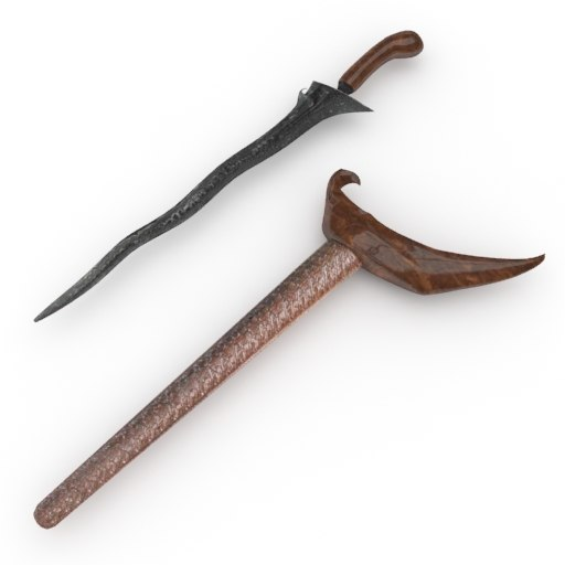 3D model keris traditional javanese sword