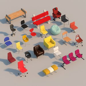 3D interior chairs