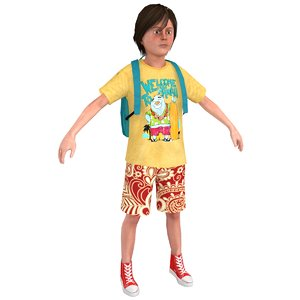 tourist boy 3D model