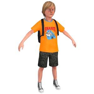 3D model tourist boy