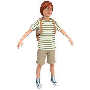3D tourist boy
