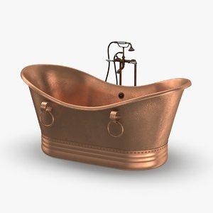 3D contemporry-bathtub---empty-faucet-off model