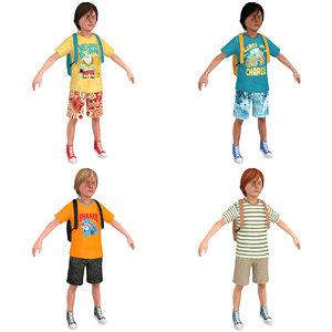 3D pack tourist boy