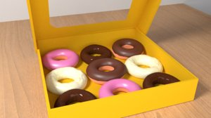 3D box delicous donuts model