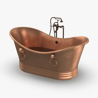 3D model contemporry-bathtub---half-full-faucet-off