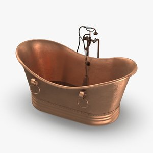3D contemporry-bathtub---mostly-empty-faucet-on model