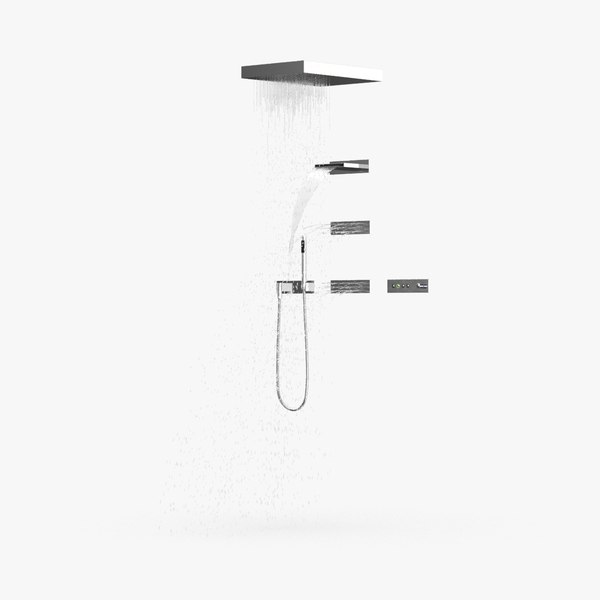contemporary-shower---water-on model