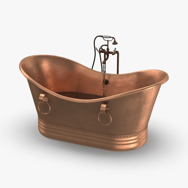contemporry-bathtub---half-full-faucet-on 3D model