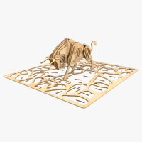 bull laser cut animation 3D
