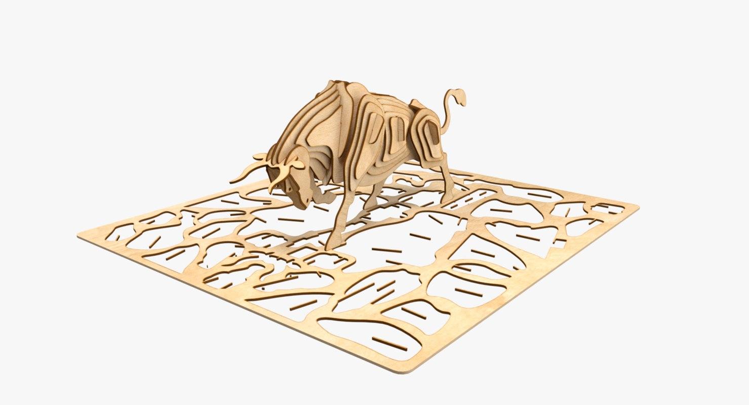 bull laser cut animation 3D